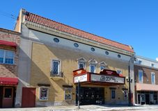 Woodstock Theatre. This is a Winter picture of the Woodstock Thratre in Woodstock, Illinois.  The theatre opened in November of 1927, was a 1000 seat venue, and Stock Images