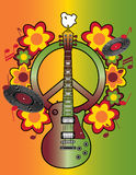 Woodstock Tribute II. Illustration of a guitar, peace symbol and dove dedicated to the Woodstock Music and Art Fair of 1969. Elements are grouped and on separate royalty free illustration