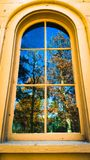 Woodsy Window. Window with distorted reflections Royalty Free Stock Image