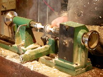 Woodturner at work Royalty Free Stock Images