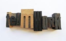 Woodtype在配合上写字 图库摄影