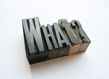 Woodtype letters asking a question what Royalty Free Stock Photo