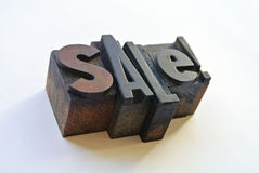 Woodtype letters promoting a sale Royalty Free Stock Photo