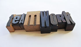 Woodtype letters teamwork Stock Photography