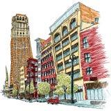 Woodward Avenue, Detroit. Illustration of Woodward Avenue in Detroi, Michigan, USA Stock Photos