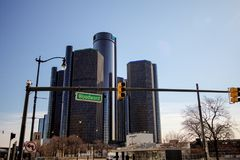 Downtown Detroit Michigan Street Scene. Woodward Avenue runs along the Detroit River through the heart of downtown Detroit. Detroit is the largest city in the royalty free stock photos