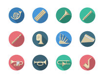 Woodwind and brass instruments round icons Royalty Free Stock Photography