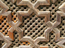 Woodwork. Ancient woodwork in the coranic school of Fes, Morocco Royalty Free Stock Images