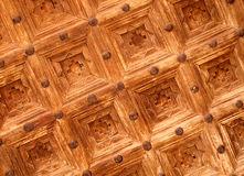 Woodwork. Ancient woodwork decoration in a Marrakesh door, Morocco royalty free stock image