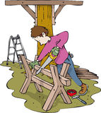 Woodwork boy Stock Photo