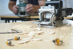 Free Woodwork Carpenter Hand Tools Router Shop Building Construction Royalty Free Stock Image - 5712366