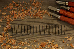 Woodwork carved in wood with chisels Royalty Free Stock Photos