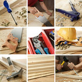 Woodwork collage. Carpentry tools, woodwork objects collage stock photography