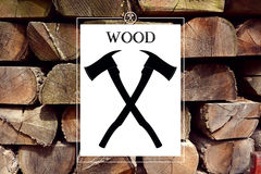 Woodwork forester logo with background Royalty Free Stock Photography