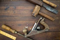 Woodwork tools on a table, flat lay overhead. Woodwork tools on table, flat lay overhead stock images