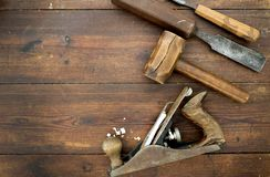 Woodwork tools on table. Flat lay overhead Royalty Free Stock Photo