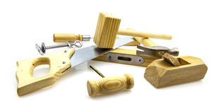 Woodwork Tools. On white background royalty free stock images
