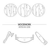 Woodwork vector icons. Line style vector set of woodwork symbols and timber industry Stock Image