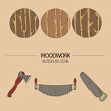Woodwork vector icons. Line style vector set of woodwork symbols and timber industry Stock Illustration