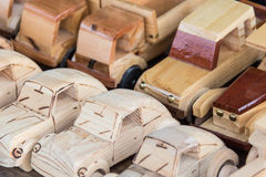 Woodwork - Wooden cars souvenirs. Handicraft - Souvenirs made of wood Stock Photography