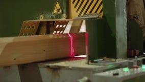 Woodworker кладет деревянный бар в точный автомат для резки с указателем лазера видеоматериал