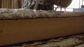 Woodworker управляет промышленным стендом пилы с деревянным журналом акции видеоматериалы