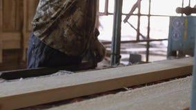Woodworker управляет промышленным стендом пилы с журналом тимберса видеоматериал