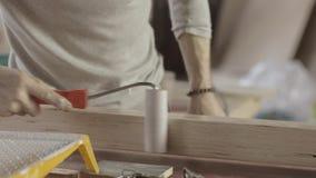 Woodworker barwidła lakieru długa drewniana deska produkcja rolownikiem wytwórca zbiory wideo