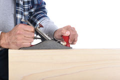 Woodworker With Block Plane Stock Images