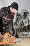 Woodworker cuts a log using a chainsaw,  saw dust flying. Stock Image