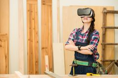 Woodworker enjoy 3d interior design with vr Royalty Free Stock Photography