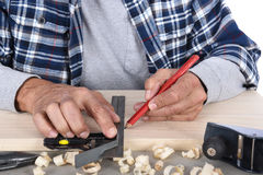 Woodworker Marking Board Stock Image