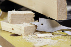 Woodworker's bench close-up. A woodworkers bench close-up Royalty Free Stock Photos