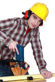 Woodworker using drill Royalty Free Stock Photos