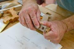 Woodworkers hands Stock Photos