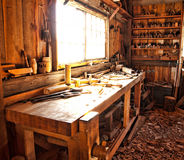 Woodworkers shop. Old fashioned, cluttered woodworkers workshop Royalty Free Stock Image