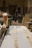 Woodworking. Carpentry workshop - tools, machinery, planks, sawdust Stock Images