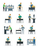 Woodworking Carpenter Service  Flat Icons Collection Royalty Free Stock Photography