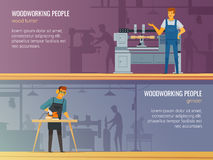 Free Woodworking Carpentry Service 2 Flat Banners Stock Photo - 81409490