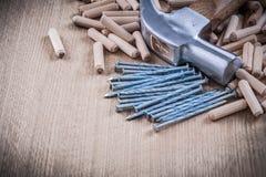 Woodworking dowels nierdzewnych gwoździe i pazura młota budowę Obraz Stock