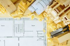 Woodworking. Drawings for building, small house Royalty Free Stock Photography