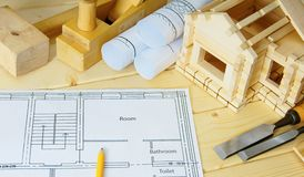 Woodworking. Drawings for building, small house Stock Image
