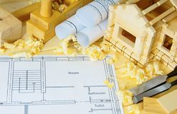 Woodworking. Drawings for building, small house Royalty Free Stock Photo