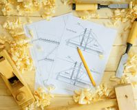 Woodworking. Drawings for building and working Royalty Free Stock Images