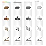 Woodworking, enterprise, ecology and other web icon in cartoon style.Board, tools, locksmith, icons in set collection. Stock Photos