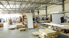 Woodworking enterprise. production Department at a furniture factory. production, manufacture and woodworking industry stock footage