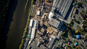 Woodworking factory top view royalty free stock image