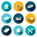 Woodworking flat Icons set Stock Photography
