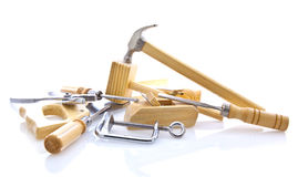 Woodworking hand tools on white. Background Royalty Free Stock Photos