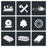 Woodworking Icons set. Woodworking icon collection on a black background Stock Image